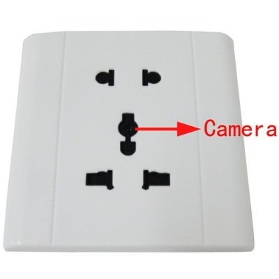 White Spy Electronic Outlet with Hidden Camera support TF Card